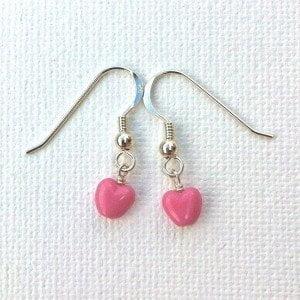 E010 - Pink Czech Heart Earrings