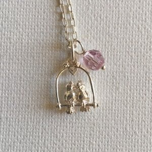 N008 - Lovebirds Necklace with Crystal