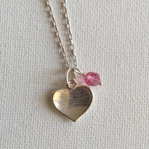 N009 - Heart Necklace with Pink Crystal