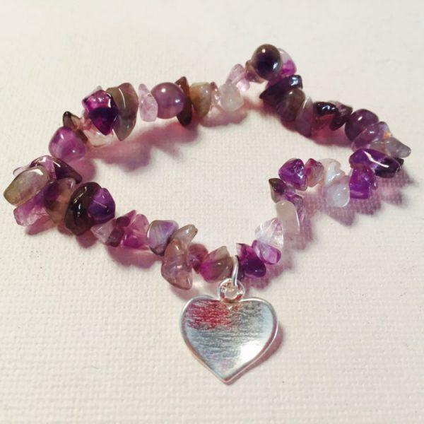 Amethyst Heart Bracelet