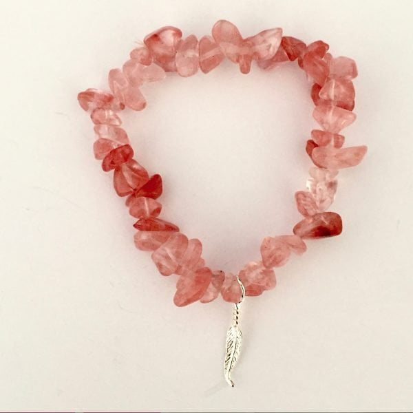 Cherry Quartz Feather Bracelet